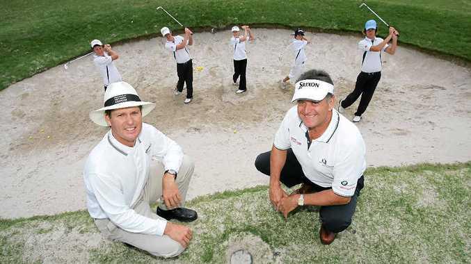 Hyatt PGA head teaching professional Peter Heiniger, and Invincibles president, Graeme Miller, launch the Sunshine Coast Junior Golf Academy back in 2007.