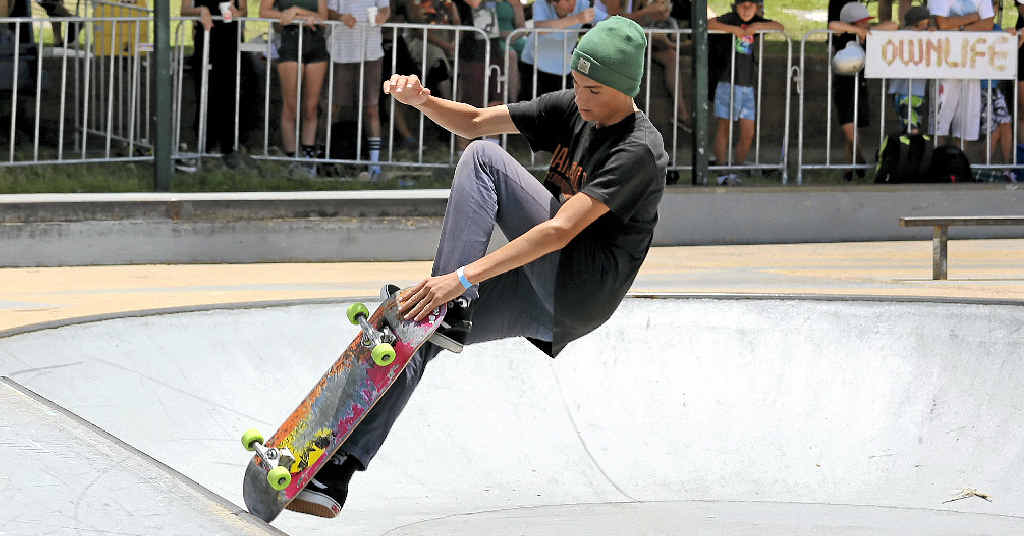 WHEEL DEAL: Get some practice at skate parks over the holiday and you might be able to compete like Jayden Morrison, who showed off his moves at a competition at Ballina.