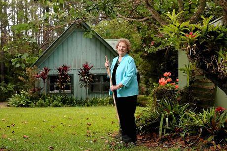 Marguerite Boyd in her garden at Dulgugian.