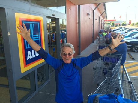 Goonellabah resident Bob Wells, who has been waiting in line for the new Aldi to open since 7am.