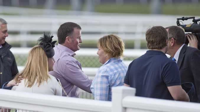 Michael Nolan receives congratulations after his Pat O'Shea Plate win at Clifford Park last Saturday with Greyt Start.