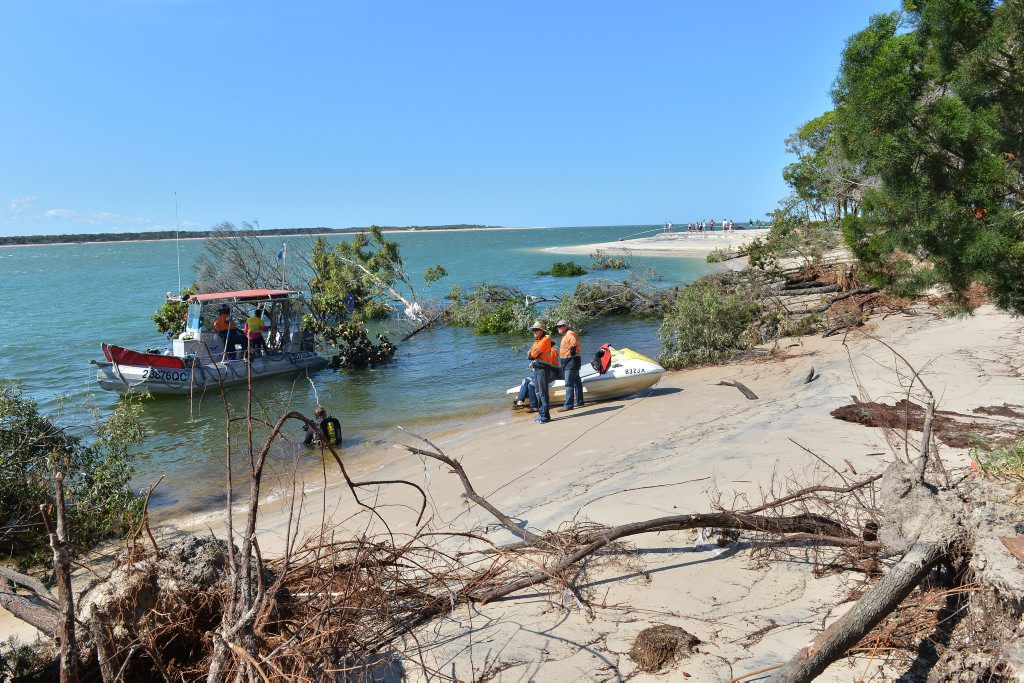 Inskip Point near Rainbow Beach. Recovery attempt for the caravan and 4 wheel drive that were swallowed up by the sinkhole/underwater landslide. Claytons Towing attempted the salvage operation. Photo Greg Miller / Gympie Times