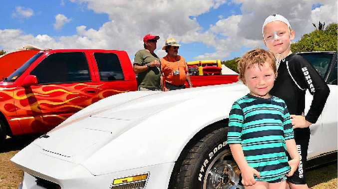 HOT ROD: Chase and Cooper Sinclair at a previous car show organised by Rum City Rods.