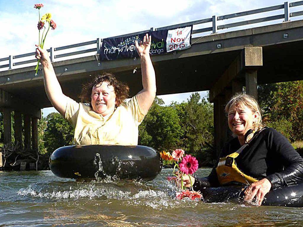 MAKING A SPLASH: Mary River enthusiasts Zela Bissett and Glenda Pickersgill.