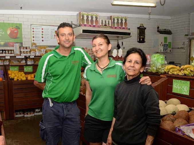 WE ARE FAMILY: Lombardo's fruit market was open 41 years ago, from right to left: Joan Lombardo, Felicia Fryatt and Frank Lombardo.