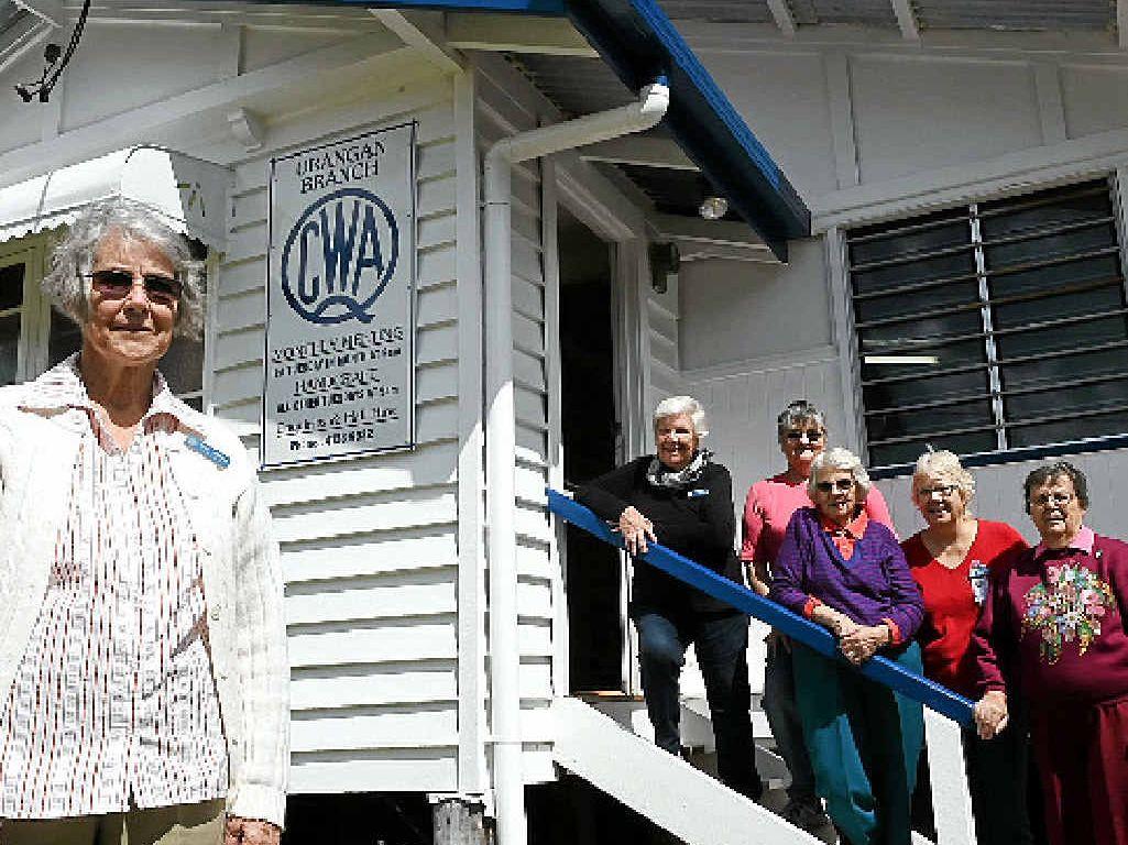 CWA URANGAN MEMBERS: Cae Adams, June Close, Jan Hall, Maud Hatchett, Teena Lock and Jean Bullock outside their hall.