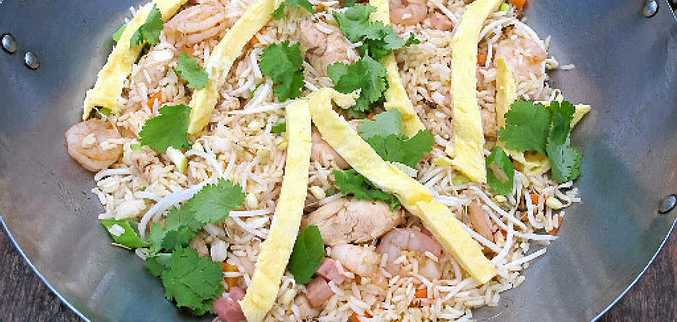 Cut up an omelette into strips for a twist on nasi goreng.