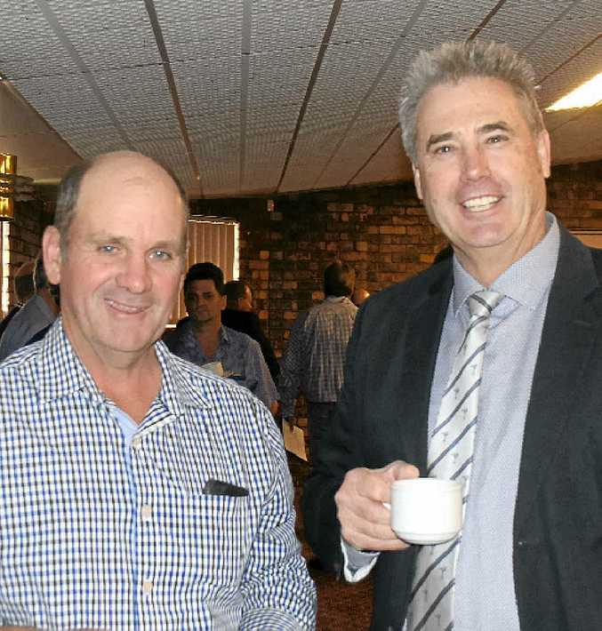 BUYBACK TALK: Balonne Shire Councillor Rod Avery catches up with Western Downs mayor Ray Brown.