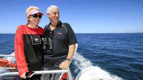 Sandee and Steve Norman from Banora Point enjoy a beautiful spring day out whale watching on the Coolangatta Whale Boat off the Tweed Coast.