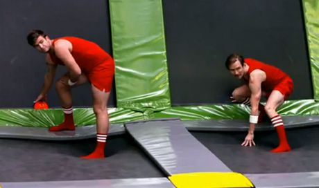 Kayne and Will prepare to play extreme dodge ball on The Bachelorette.