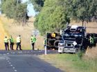 Police at the scene of a fatal traffic crash occurred at Peak Crossing on Thursday morning.
