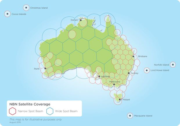 What areas the new NBN satellite will cover