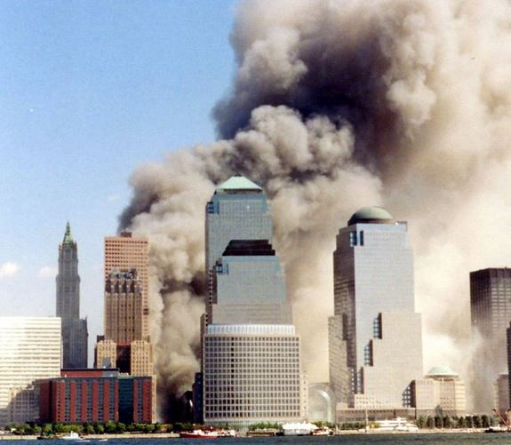 Picture of the World Trade Center on 9/11 shortly after the second tower had collapsed.