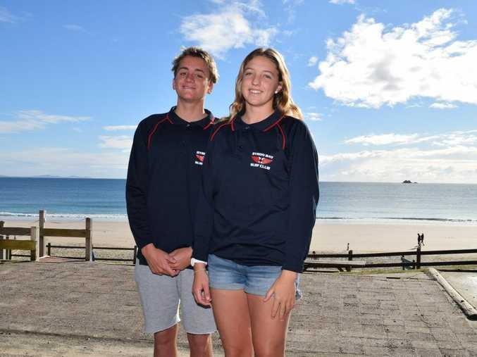 Jy Timperley, left, pictured with Caitlin Callahan in July after being named in the Australian Youth Lifesaving Team. He is now competing in New Zealand along with Gabrielle Kay in the 2015 New Zealand Pool Championships.