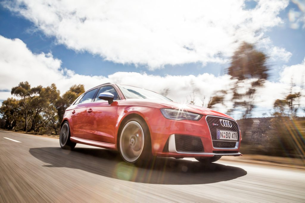 CAPABLE AND QUICK: Audi has launched the most powerful compact hot hatch in Australia, the RS3 Sportback.