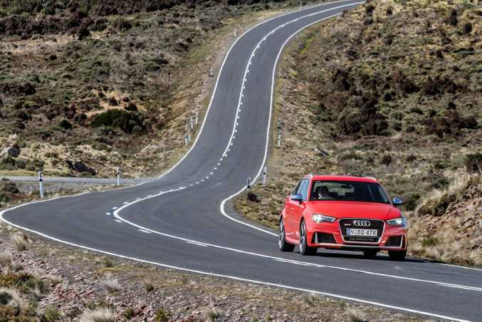 OPEN ROAD: The RS3 Sportback's ideal playground. The turbocharged five-cylinder is a delight to open up to explore the Audi's incredible talents.