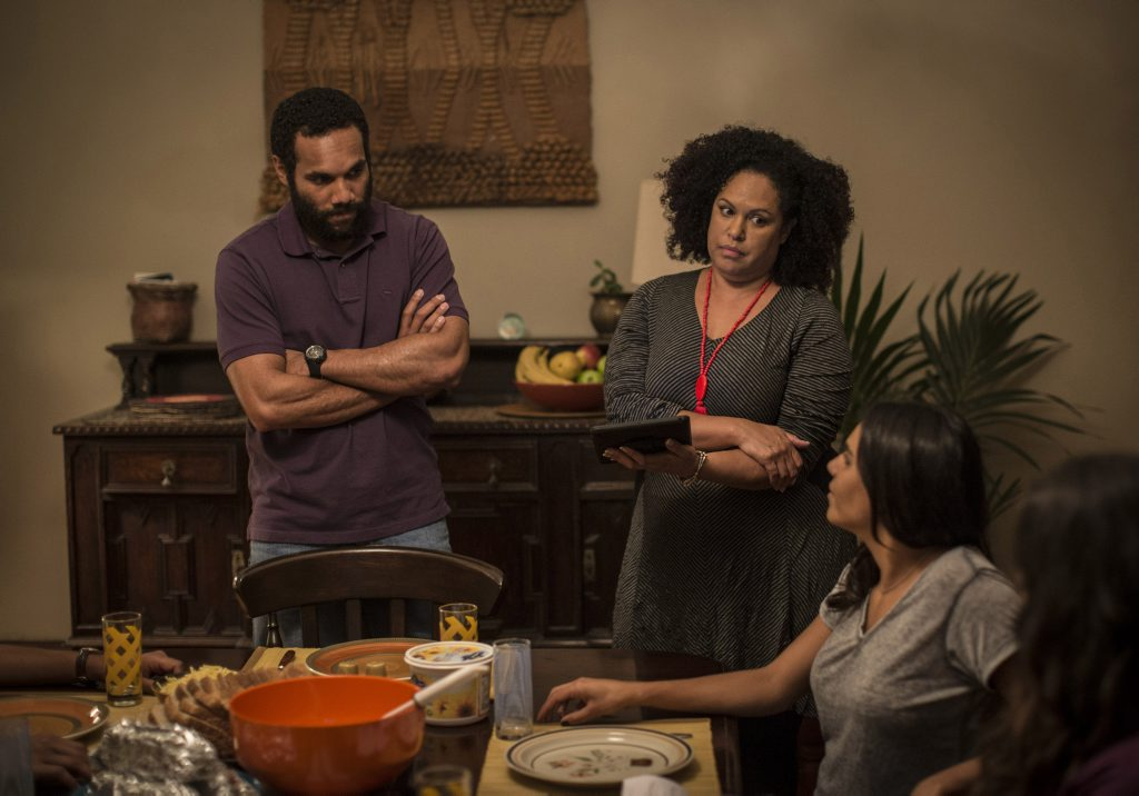 Lasarus Ratuere and Christine Anu in a scene from the TV series Ready For This.