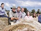 CDRV volunteers Amanda and Brian Nothdurft, Brian and Caroline Myer, Sharon Beoysen and Noel Grosskopf with Swan Creek farmer John Gosen who donated 40 round bales to the Longreach drought appeal. Photo Jayden Brown / Warwick Daily News