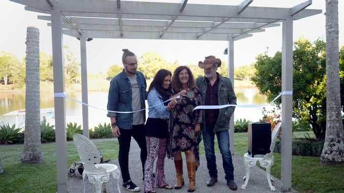 Harry Hookey, Kasey Chambers, Lou Bradey and Bill Chambers officially launch the inaugural Murwillumbah Country Roots Festival on Friday, October 2. Photo: Liana Turner / Tweed Daily News