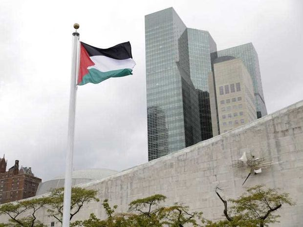 The Palestinian flag flies for the first time at U.N. headquarters, Wednesday, Sept. 30, 2015.