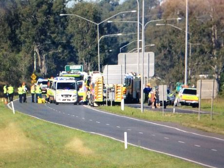 Emergency services at the scene of a traffic crash on the Cunningham Highway near Ripley.