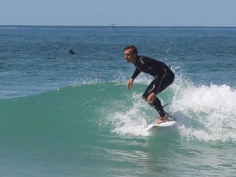 Tai Jennison said he took this photo of Cody Petrie surfing at Lennox Head. The are unsure of what we see in the background but think it is a shark.