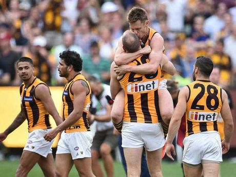 Hawthorn Hawks players Sam Mitchell (second from left) and David Hale react after winning the AFL Premiership against the West Coast Eagles during the AFL Grand Final at the MCG in Melbourne, Saturday, Oct. 3, 2015.