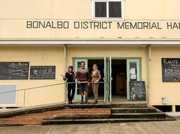 COMMUNITY HUB: Bonalbo Hall and three members of its loving hall committee, Marion Conrow, Lawrence McCarthy and Velia De Tozza.
