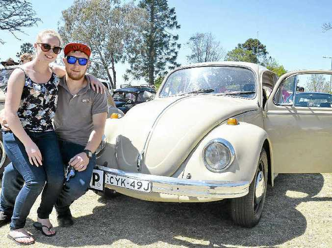 Bec Allen and Joe Edmonds with their entry to the Leslie Park VW parade.