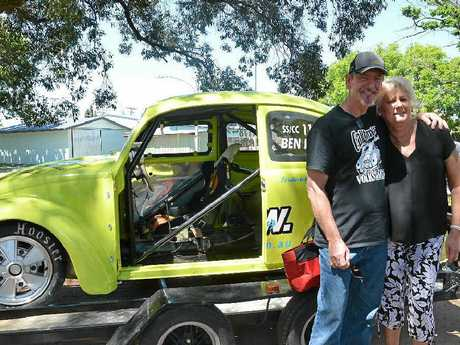 John and Dalveen Waltho from Brisbane were impressed by the display of racing cars at Leslie Park.