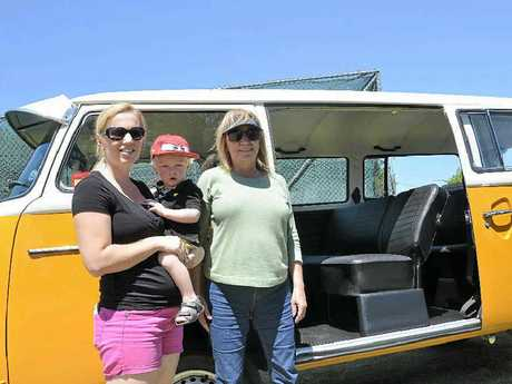 Nicole and Miles Richardson with Kay Richardson and her VW Kombi van.