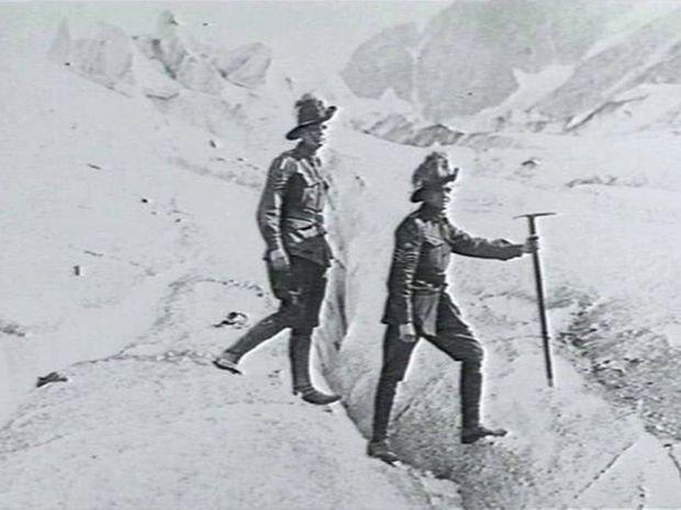 Roy McKerihan and friend climbing Mount Blanc, 1917