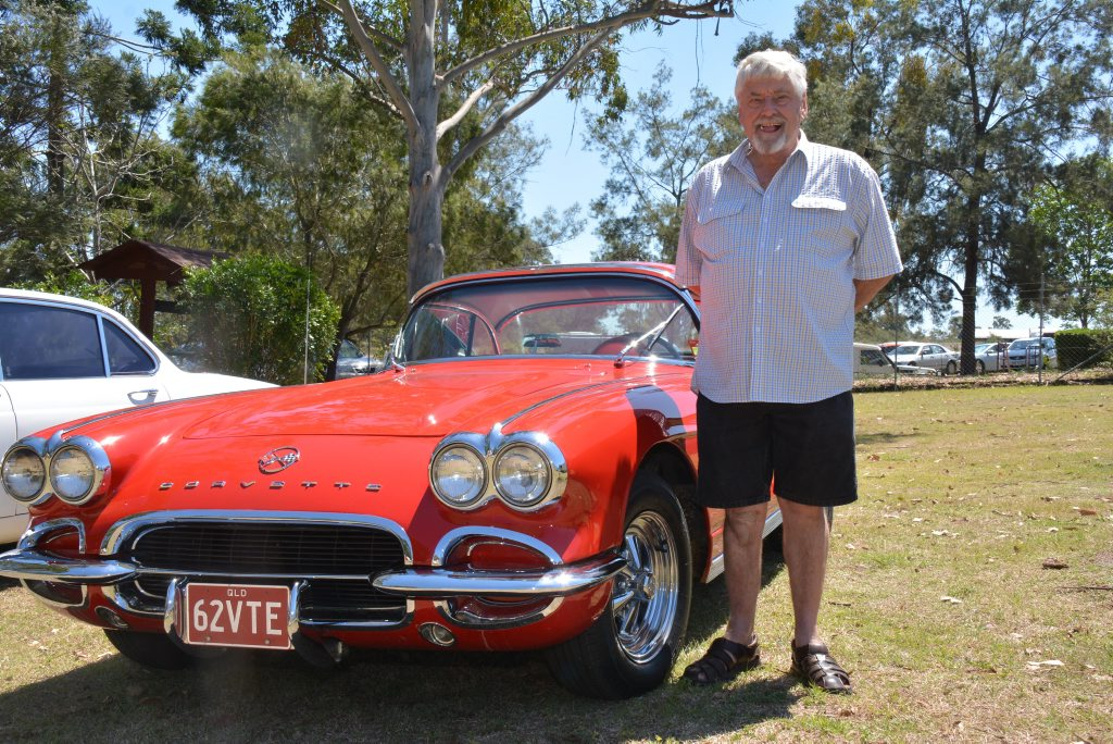 Allen Wilkinson, from Goomeri Chrome Bumpers shows off his Chevrolet corvette at the Queensland Dairy and Heritage Museum. Photo Kate Darvall/ South Burnett Times