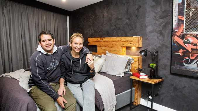 The Block contestants Kingi and Caro pictured in their winning guest bedroom.