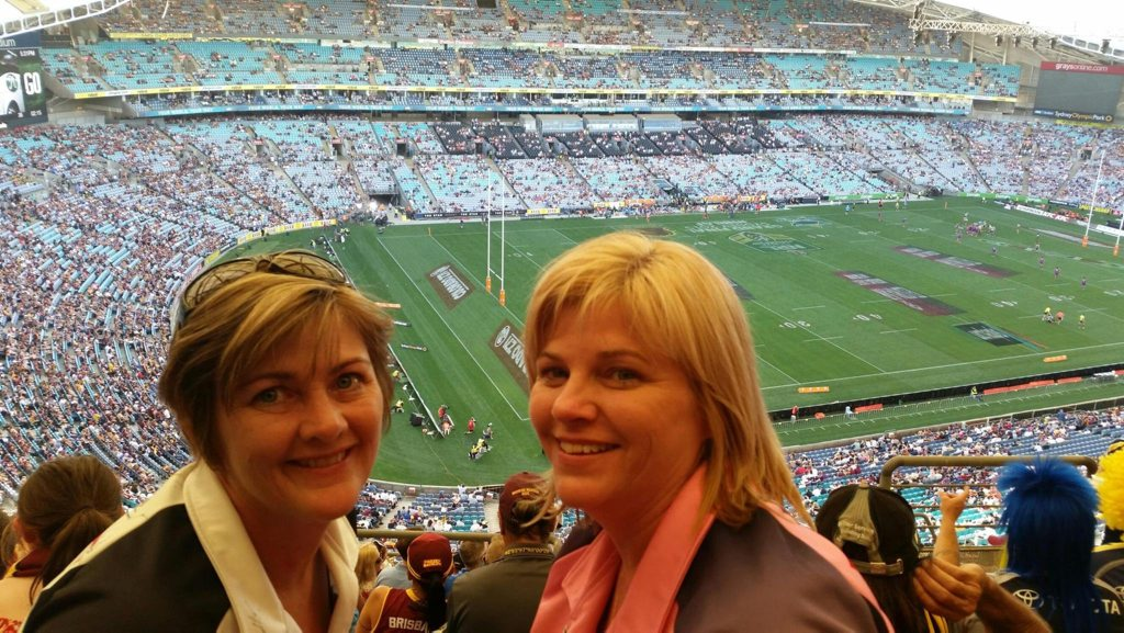 Mackay's Clare Thompson and Joanne Spence were over-the-moon they splurged on tickets to the historic NRL grand final. Photo: Contributed.