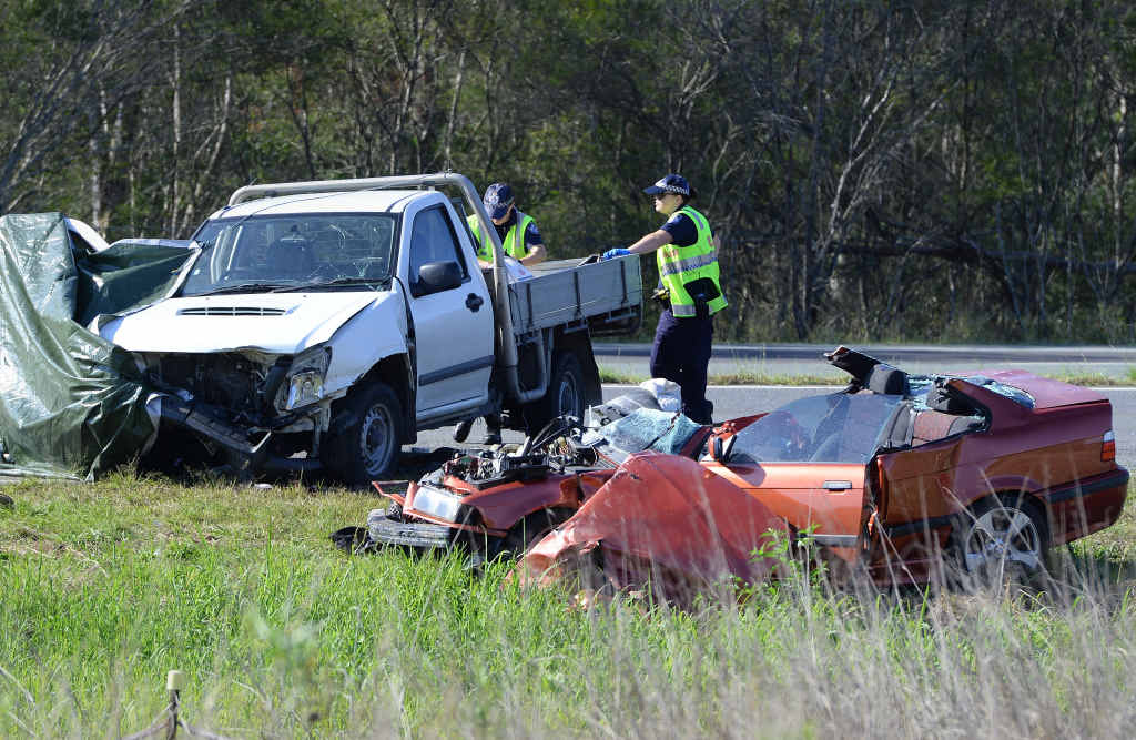 The scene of a fatal crash on the Cunningham Hwy on Friday morning.