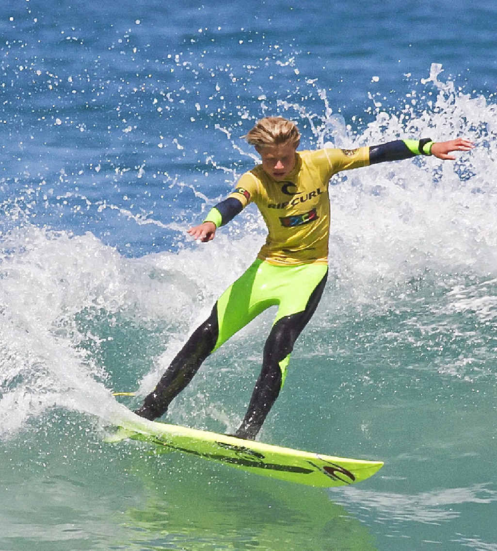 CHAMPION IN THE MAKING: Lennox Head surfer Mikey McDonagh on his way to winning the 16 and under boys division of the Rip Curl GromSearch in Victoria.