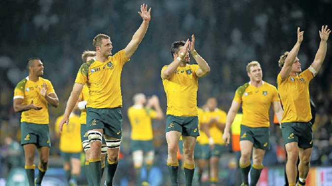 HAPPY DAY: Australian players celebrate victory to send England out of the World Cup.