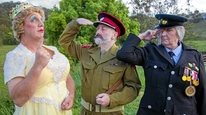 Brian Meldrum as the Queen of England, Douglas Jardine as the Head of the Army and Carole Evans as the Head of the Airforce in The BFG (Big Friendly Giant), which is on show at Murwillumbah Civic Centre from October 17 until November 1.