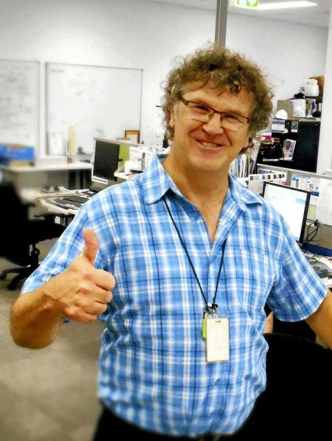 Jeff Walters gives the thumbs up to the future as he signs off from the Tweed Daily News after 37 years.