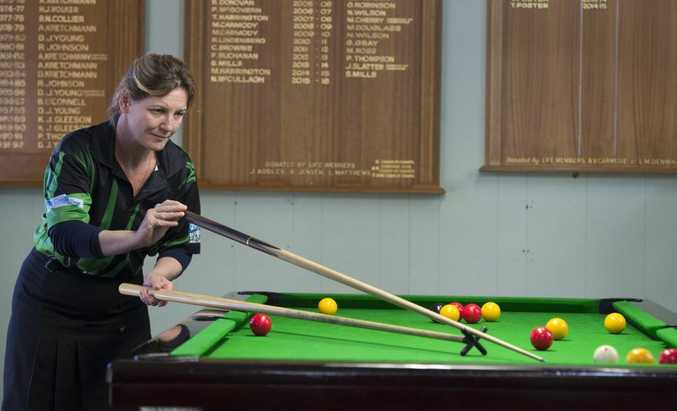 Sandy Leeson in action for Toowoomba in the Best of the West 8-ball tournament at West Toowoomba Bowls Club.