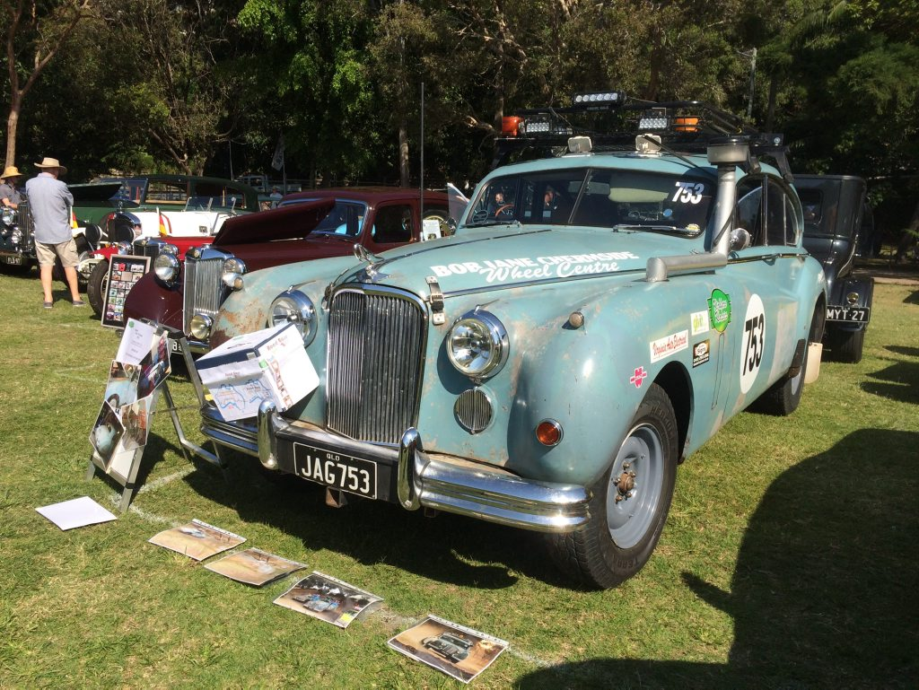 OLD STAGER: 1953 Jaguar Mk VII Sedan rally car at last year's Noosa Beach Classic Car Show.
