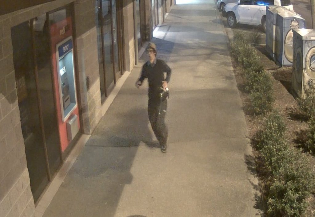 Police believe the man pictured in these CCTV images may be able to assist with their inquiries about two armed robberies in Byron Bay last month. Photo Contributed