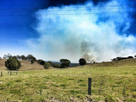 Smoke from fires north of Toowoomba.