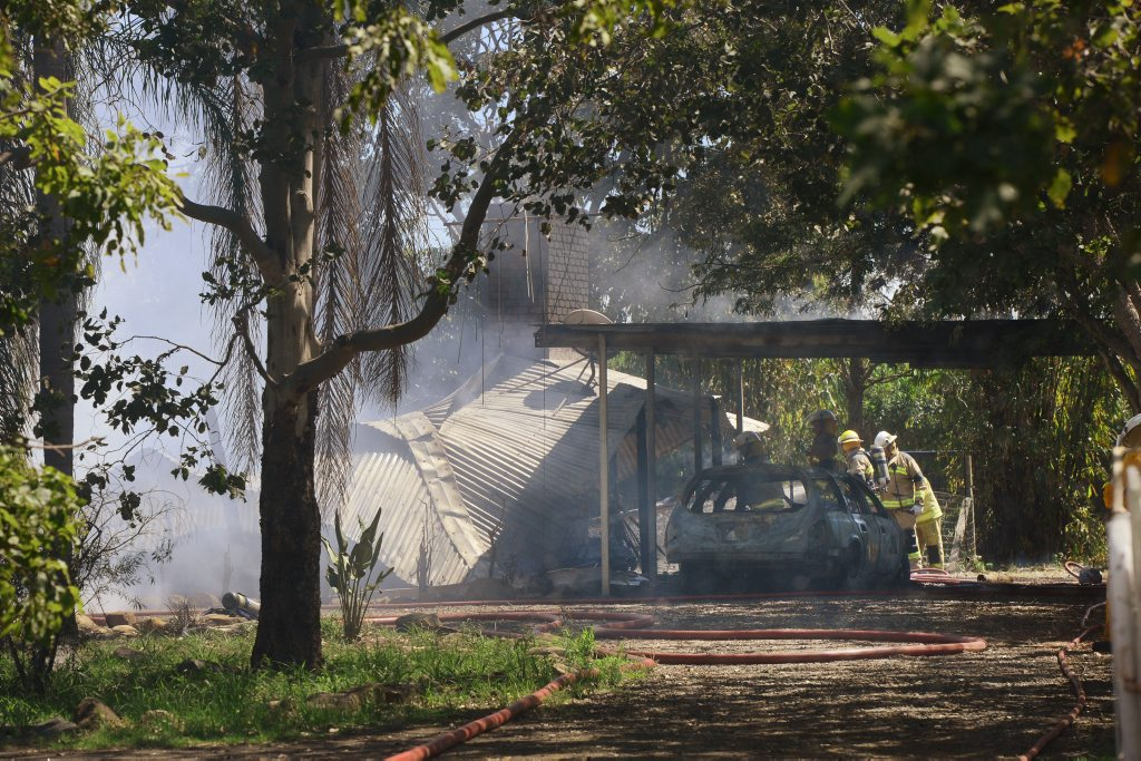 A house was detroyed by a fire at Minden. Photo: David Nielsen / The Queensland Times