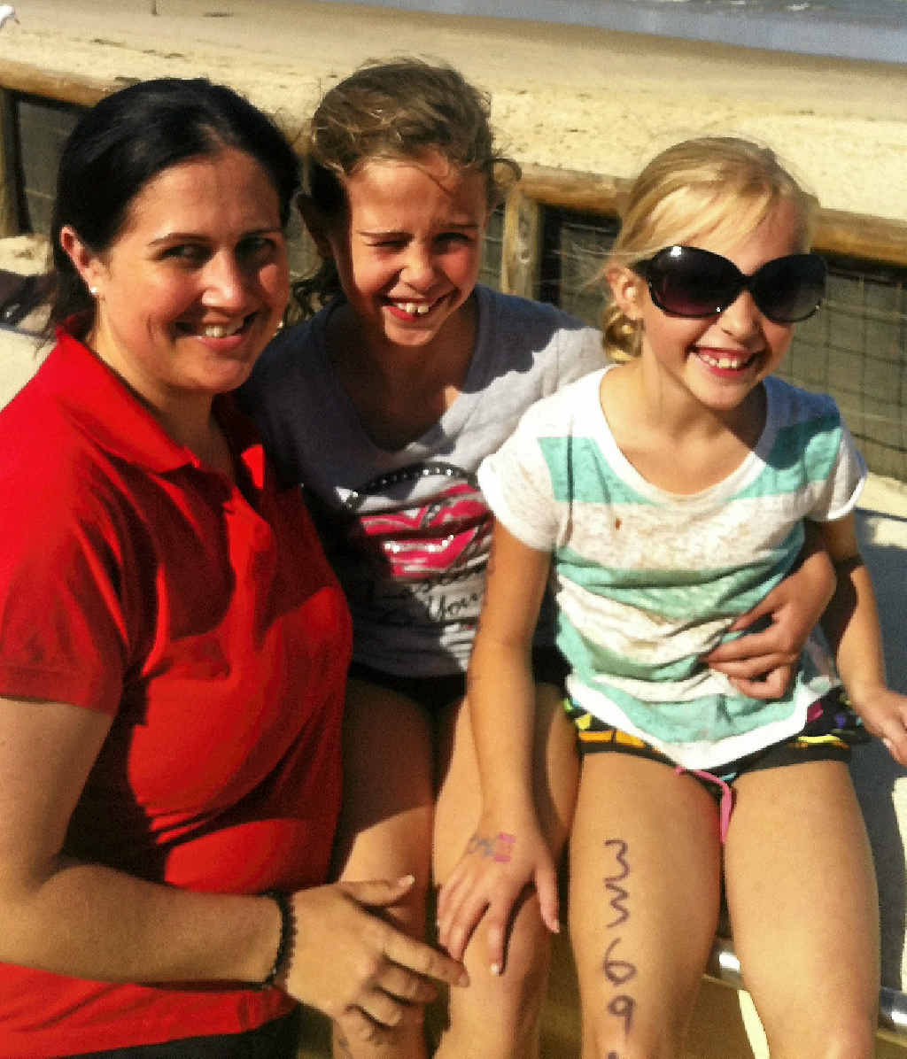 Verena Fletcher with daughters Brahe (centre) and Lara.