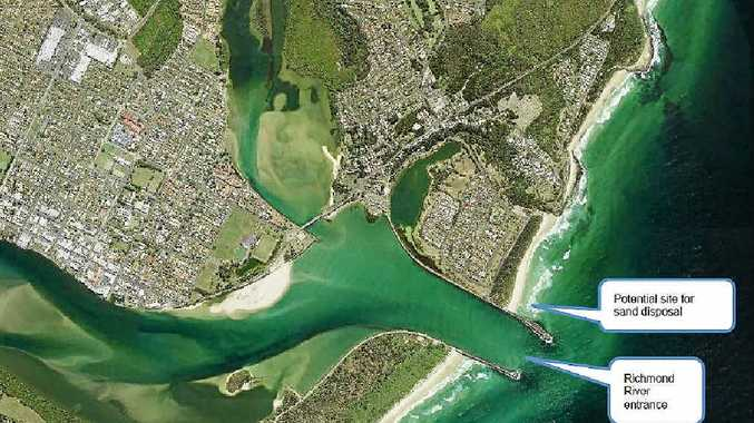 """DREDGING: Plans are underway for the """"one-off"""" dredging of the notorious Richmond River bar at Ballina. The proposal is to achieve a 4m depth clearance at low tide across a 100m wide channel."""