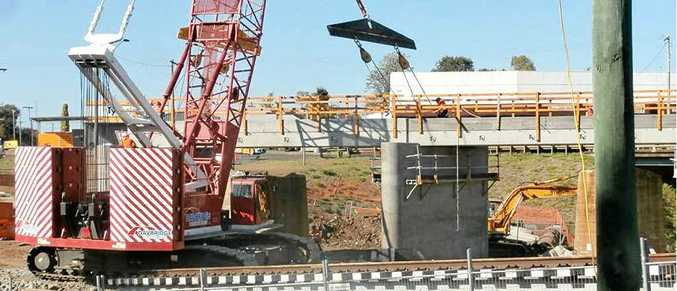 GOING UP: Work is underway on building a new bridge to replace Oakey's former rail bridge which was more than 100 years old.