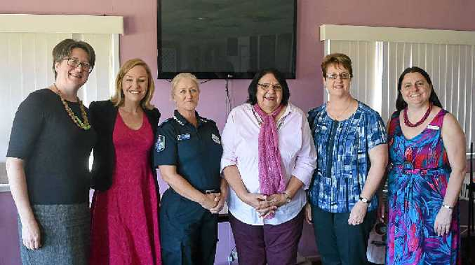 GUESTS: Dr Jenny Ostini, Senator Larissa Waters, Snr Constable Annie Johnston, Ozcare supporter Jayne Swift and 4DDD president Pamela Fay Weekes at the Dalby domestic violence forum on Saturday.