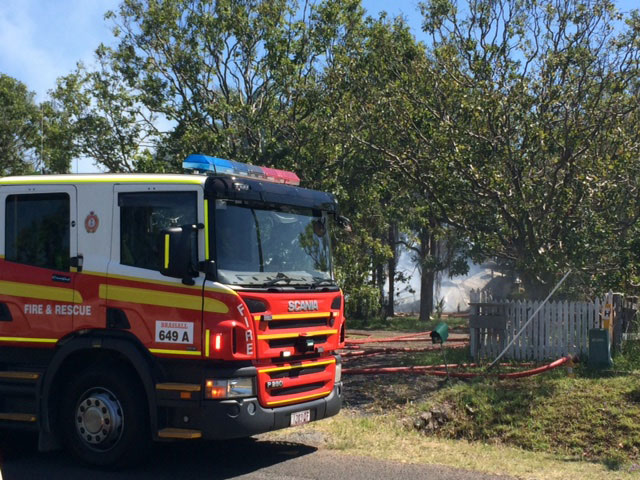 Fire crews at the scene of a fire at a residence at Minden.